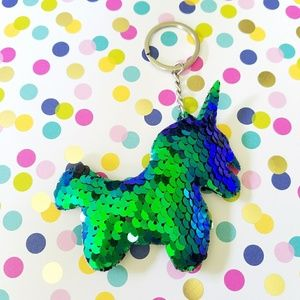 Blue Green unicorn keychain purse charm